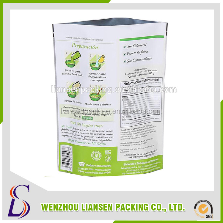 LM-PE008 Customized Color Printing Stand Up Plastic Bag With Zipper