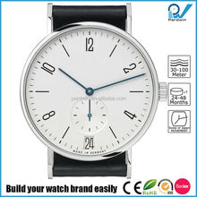 316L stainless steel case sapphire crystal quartz movement small dial second hand 100% genuine leather bahaus style vogue watch