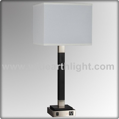 UL CUL Listed Square Shade Hotel Table Lamp With Outlet And USB Port For Bedroom T20300