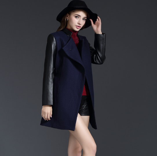 MS80938N Autumn Winter New Design British Womens Fashion High Quality Leather Sleeve Wool Overcoat