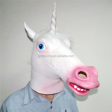 Unicorn Horse Face Mask Latex Halloween Party Costume Animal Theater Prop Wear