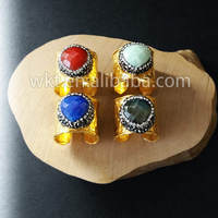WT-R219 New Natural heart shape gemstone gold plated ring, Fashion gorgeous heart shape gold stone ring