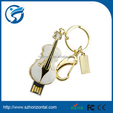 2014 low price jewelry guitar shaped usb 2.0 driver with keychain