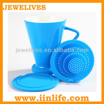 New arrival ceramic tea infuser mug with silicone lid