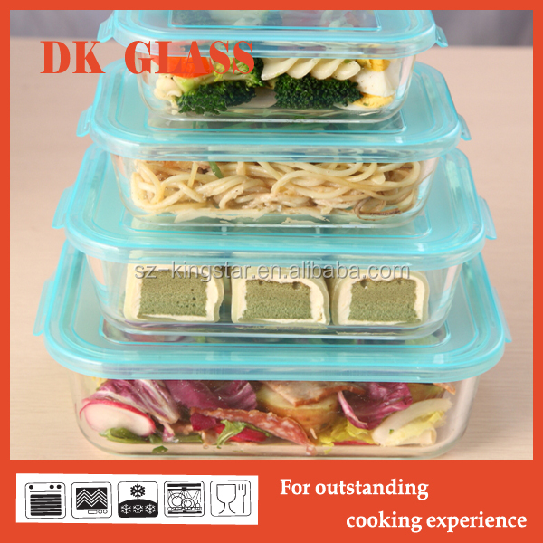 Oven safe rectangular borosilicate glass food storage container with simple lid/ Ovenproof glass lunch box/Glass storage box