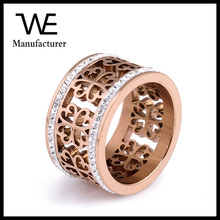 Fashion Stainless Steel Inlaid Two Rows of Czech Diamond Hollow Ring