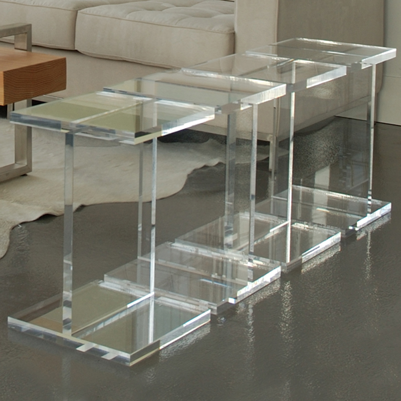 Custom Clear Acrylic Pedestal Crystal Perspex Square Table Display Risers
