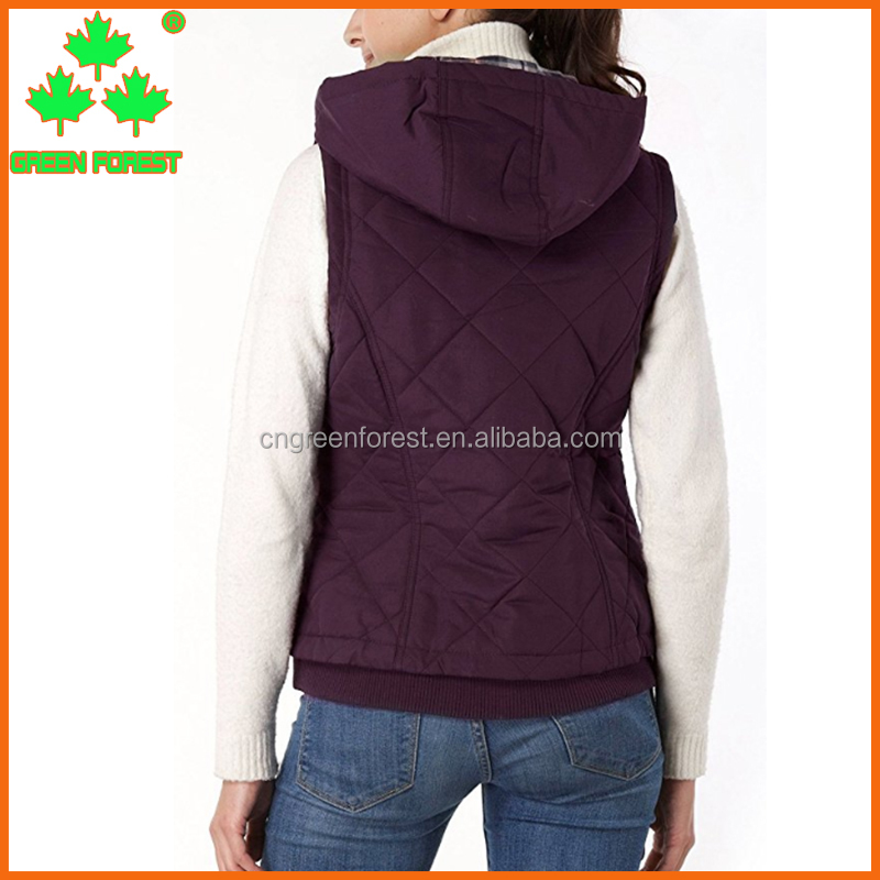 women's quilted hooded purple puffy vest