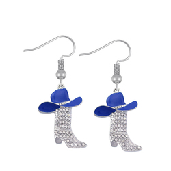 Husuru Jewelry Metal Alloy Silver Plated Enamel Cowboys Hats Clear Crystal Boot Charm Earrings