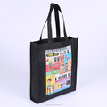 Heat transfer print low price black non woven gift shopping tote bag