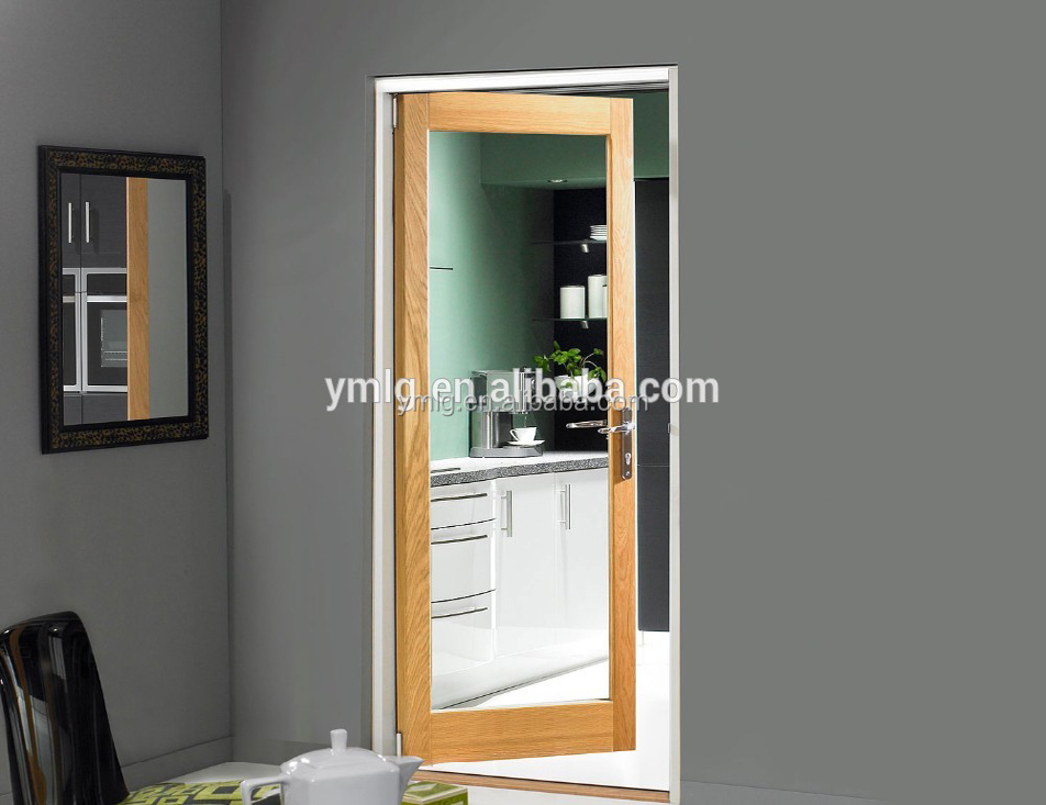 Wood <strong>Grain</strong> Finished Aluminum Frame Single Swing Kitchen Door With Glass