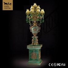 2017 hot sale Luxury electric floor standing candelabra 13 Lights bronze green marble crystal antiqued Retro floor lamps
