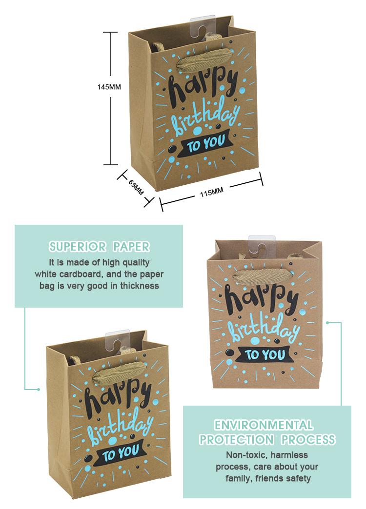 Top qualidade garantida feliz aniversário slogan impresso kraft saco de presente de papel marrom