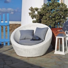 Terrace sun cane outdoor furniture white wicker round tub chair