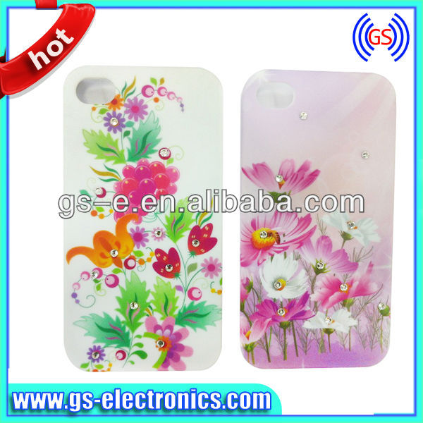 For iphone 4 / 4S case Promotion Lovely Flower PC Hard phone cases