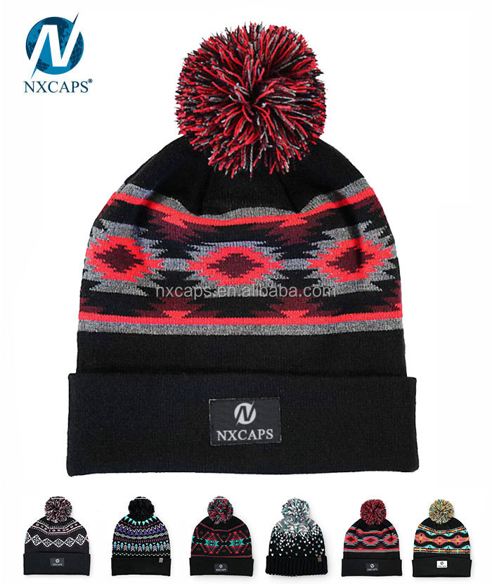 Custom Wholesale factory cheap Plain red jacquard knitted pom beanie hats
