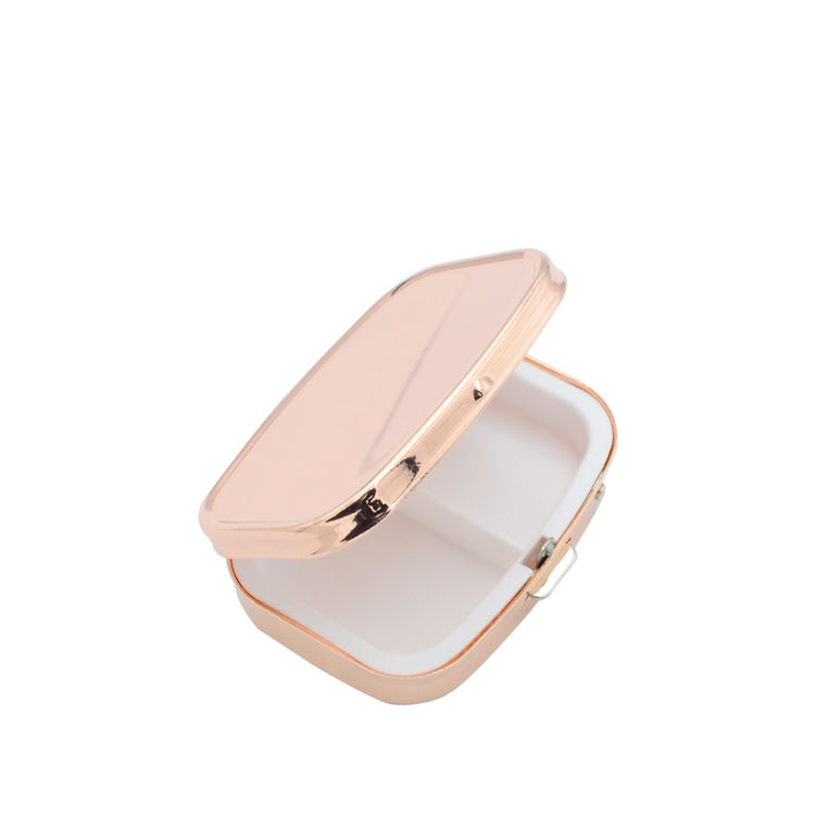 Custom logo rose gold plating small 2 compartment metal pill box+medication two compartments pill box for trip