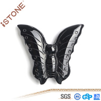 Natural Stone Crafts Black Agate Carved Butterfly Pendant