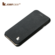 Genuine leather book style folio flip leather case for iphone 6
