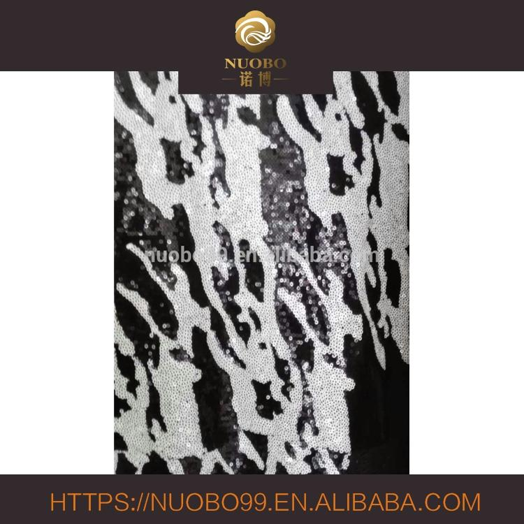 100% polyester white and black animal sequin embroidery fabric