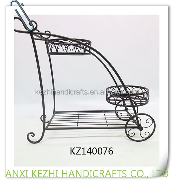 KZ140076 Ancient wrought iron metal craft 3-tiers plant pot stand