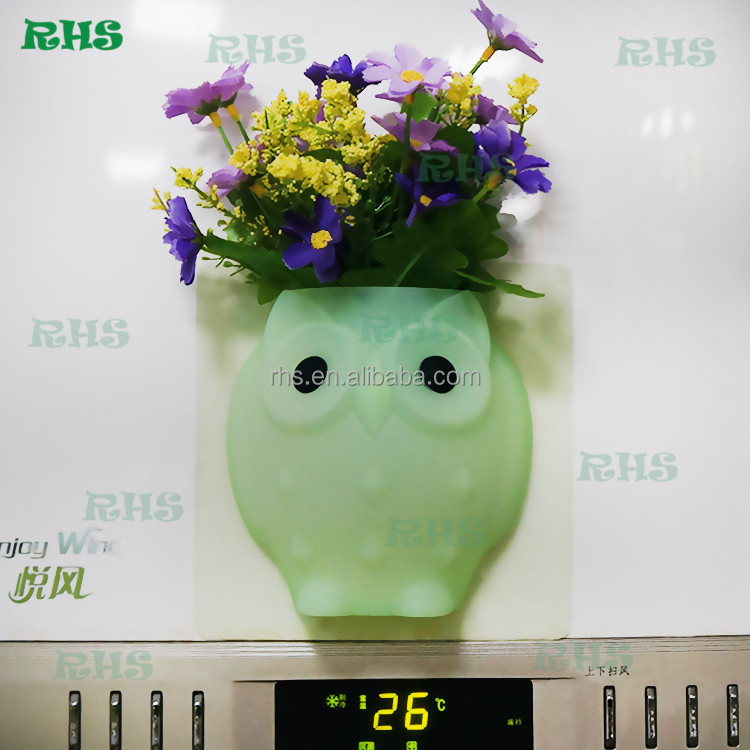 Cute Owl Shape Wall Mounted Flower Vases Small Silicone Flower Vases/Holder
