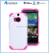 2 in 1 Rubber Hard Cover & Silicone Shockproof Hybrid Case for HTC M8 ONE2