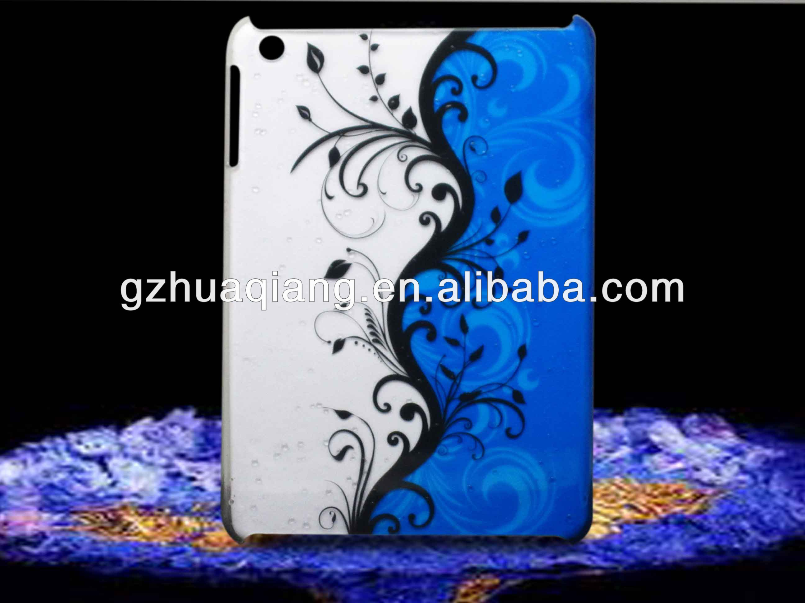 Newest Luxury design case for ipad mini,high quality PC case for ipad,drop in water stickers following