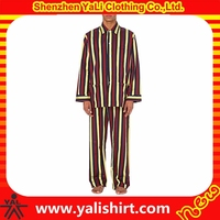 High quality custom comfortable casual cheap long sleeve stripe long satin nightgown for men