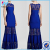 Elegant Blue Lace Floor Length Dress Sleeveless Scollop Neck Slim Long Maxi Prom Party Evening Dresses