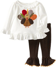 Halloween little girls boutique outfits kids turkey appliqued ruffle shirts & polka dots pompom pants clothes set