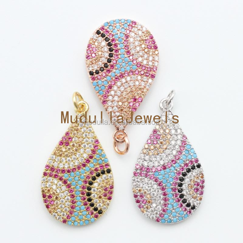 PM4885 Beautiful Rose Gold Electroplated Teardrop CZ Tiny Beads Micro Pave Evil Eye Charm Zircon Stone Bail Pendant