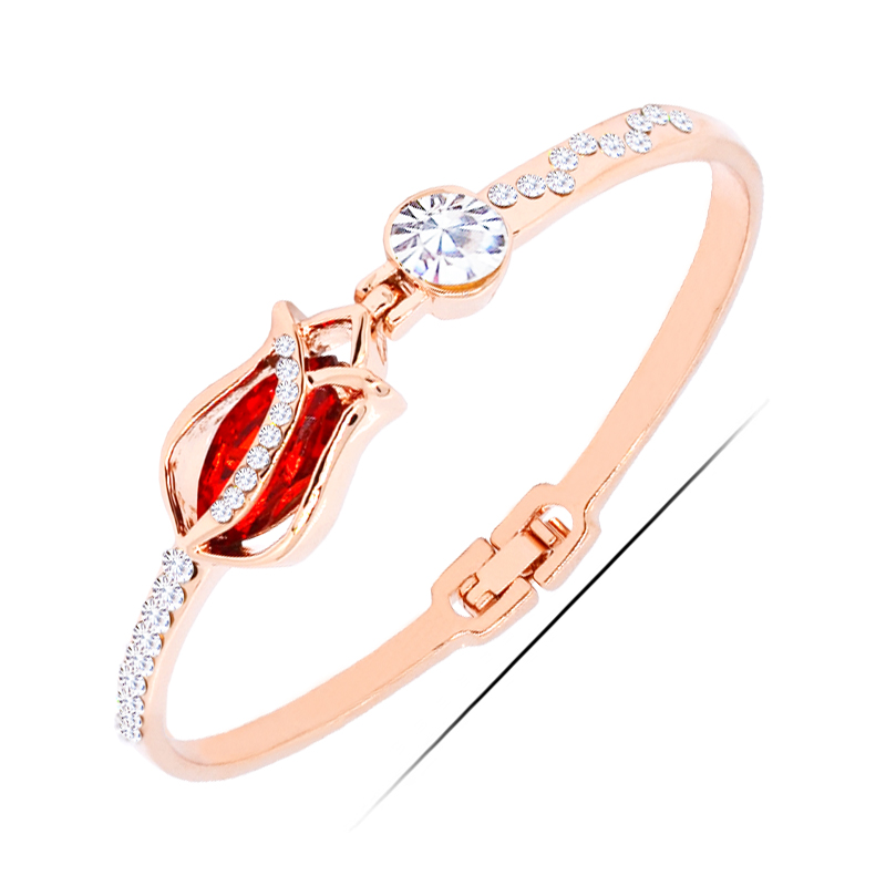 <strong>W123</strong> Red Crystal Flower Women Bangle 18K Gold And Silver Plated Jewelry 2017 Latest Design Bangle Wholesale Women's Day Gifts