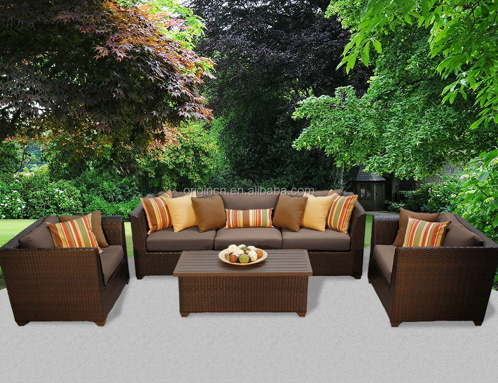 5 seater pacific rattan garden furniture set with club chair and storage coffe table european style classic sofa
