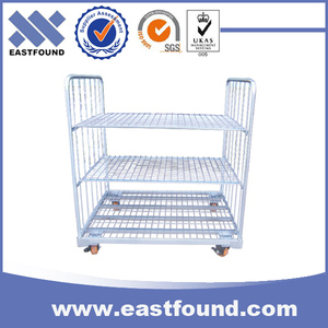 Galvanized wire transport cage pallet trolley cart