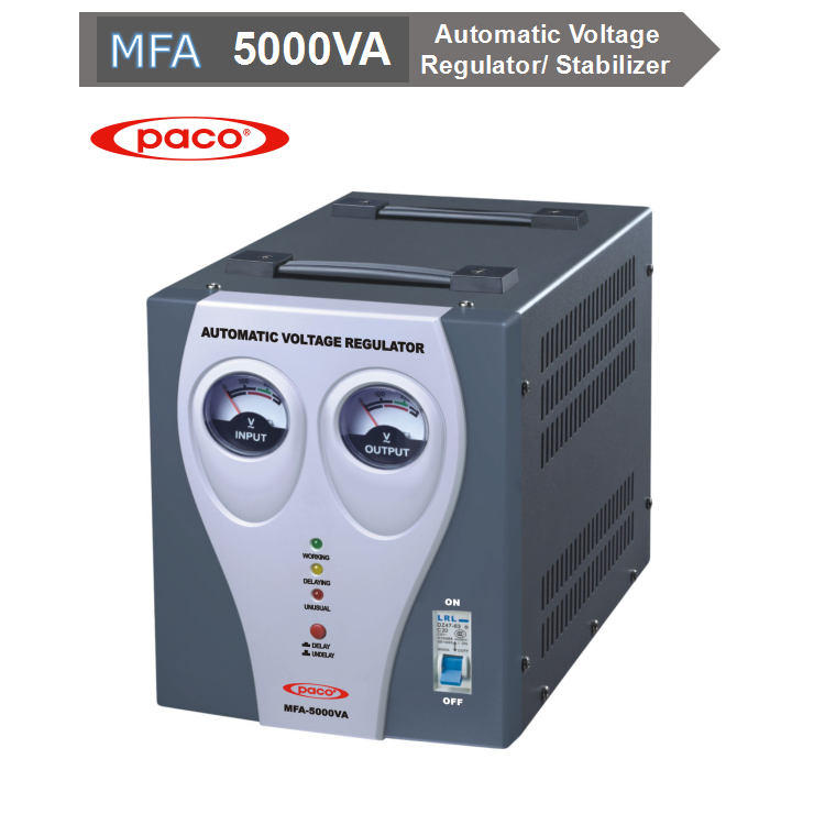 PACO Automatic Voltage Regulator/ Stabilizer Thermal Protect Cooling System Relay Type 5KVA