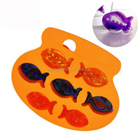 Q157 Colorful candy color silicone popsicle mold /fish shape silicone ice mold