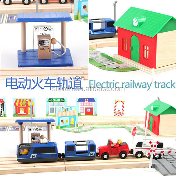 80pcs Electric Construction Rail Wooden Train Set