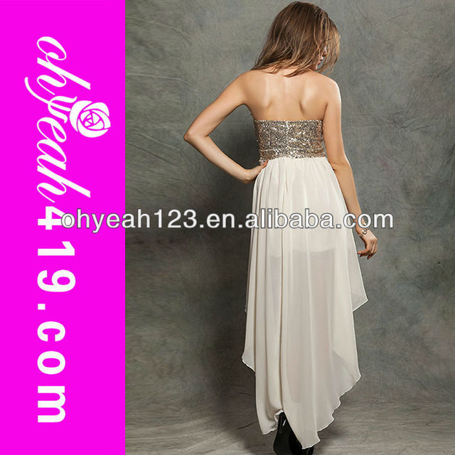 Fashion ivory short front long back prom dress hot sale