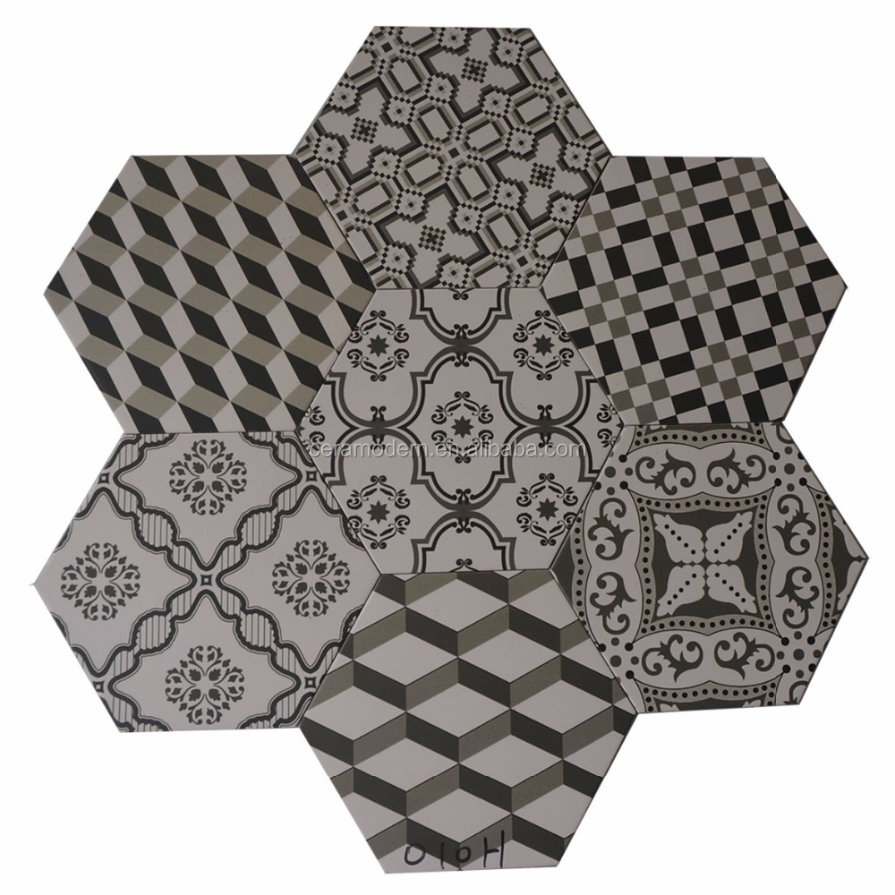 flower printed hexagon floor tile for kitchen bathroom living room