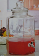 10L Clear Glass Jar with Tap / Large Glass Beverage Cantainer