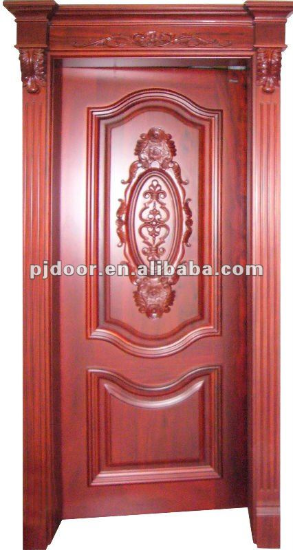 Red walnut carved solid wooden door YHSW-101 (Any wood species can produce)
