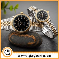 D00164Z The wrist watches For business mens women silver with gold ring stainless steel wrist watches