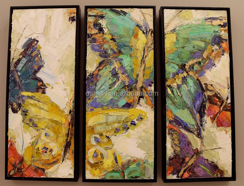 Hand Painted High Quality 3 Pieces Group Abstract Butterfly Oil Painting On Canvas For Bed Room And Kitchen Decoration