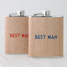 wood leather hip flask of silk printing logo