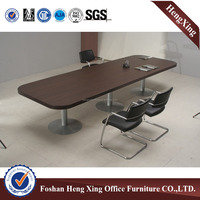 Dark Color 50mm thickness 3 Metal Legs Wood Meeting Desk (HX-5N195)