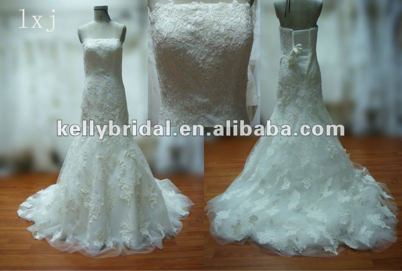 Wedding Gown Aline Lace Bead Bridal Dress with DropShipping