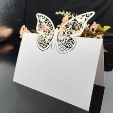 Hot sale white color butterfly Z173 wedding favors wedding decorations table card laser cut seat card place name card