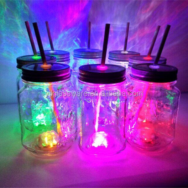 led light drinking glass with handle and straw