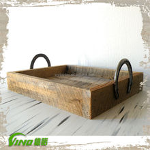 Rust Wooden Serving Tray With Metal Handle , wooden antique serving tray with handles , distressed wood serving tray
